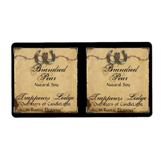Horseshoes on Parchment Candle Label Shipping Label