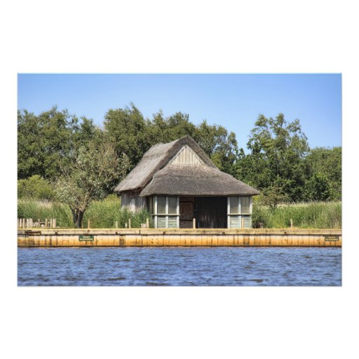 Horsey mere thatched cottage photo print