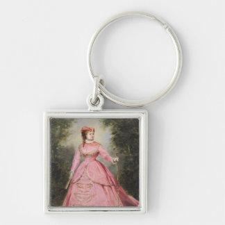 Hortense Schneider  1868 Silver-Colored Square Key Ring