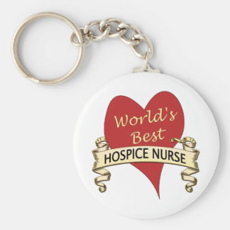 Hospice Nurse Basic Round Button Key Ring