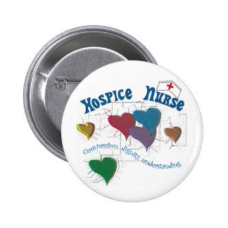 Hospice Nurse Multi Colored Hearts 6 Cm Round Badge