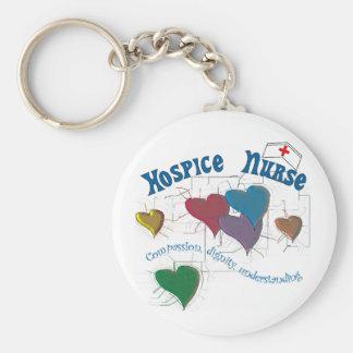 Hospice Nurse Multi Colored Hearts Basic Round Button Key Ring