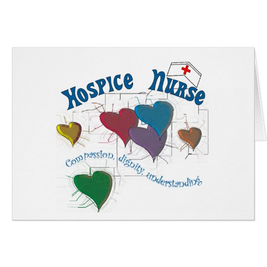 Hospice Nurse Multi Coloured Hearts Card