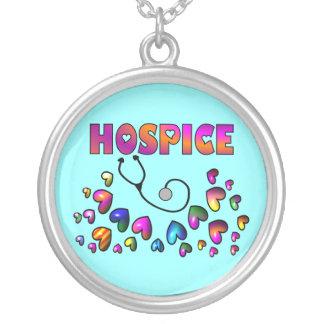 Hospice Nurse Necklace, Sterling Silver Round Pendant Necklace