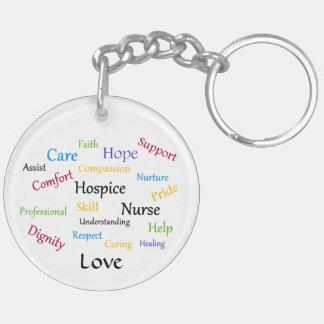 Hospice Nurse Round Keychain