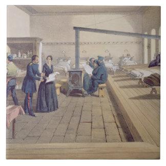Hospital at Scutari, detail of Florence Nightingal Large Square Tile