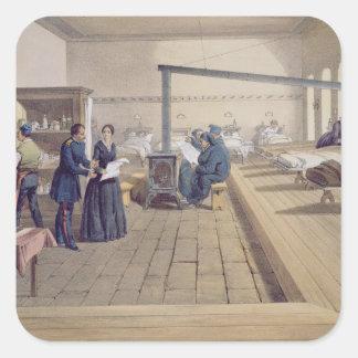 Hospital at Scutari, detail of Florence Nightingal Square Sticker