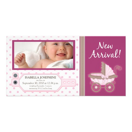 Hospital ID Tag Baby Birth Announcement: pink Card