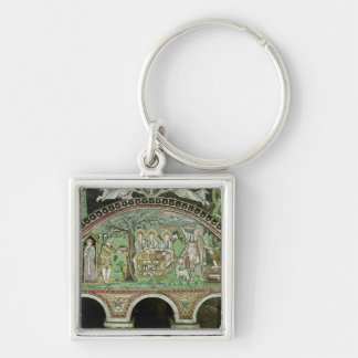 Hospitality of Abraham and the Sacrifice of Silver-Colored Square Key Ring