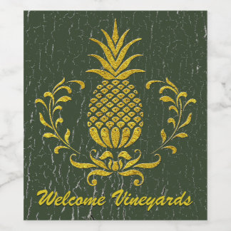 Hospitality Pineapple Gold Weathered Paint Wine Label