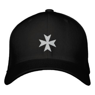 Hospitallers Black Embroidered Cross Hat Embroidered Cap