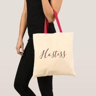 Hostess Burgundy font Tote Bag