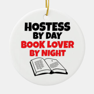 Hostess by Day Book Lover by Night Christmas Ornament