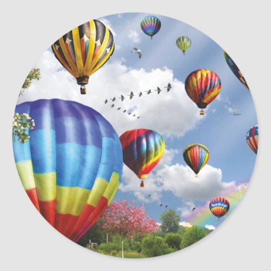 Hot air ball remunerations classic round sticker