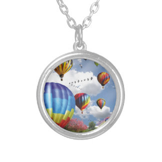 Hot air ball remunerations silver plated necklace