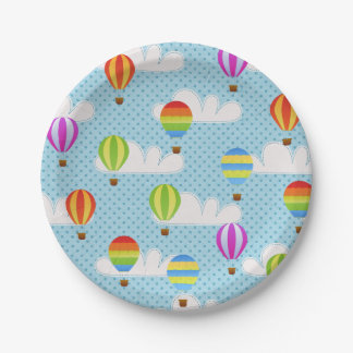 Hot Air Ballons in Cloudy Dotty Sky Paper Plate