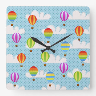 Hot Air Ballons in Cloudy Dotty Sky Wallclock