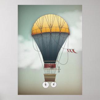 Hot Air Balloon Airship Abeelle | Steampunk Travel Poster