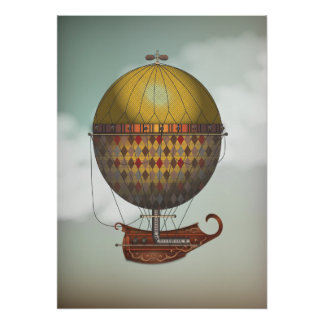 Hot Air Balloon Airship Nautisme Steampunk Travel Poster
