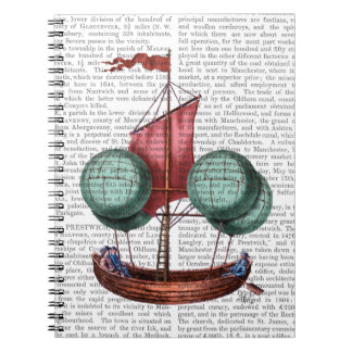 Hot Air Balloon Airship With Red Sail Spiral Notebooks