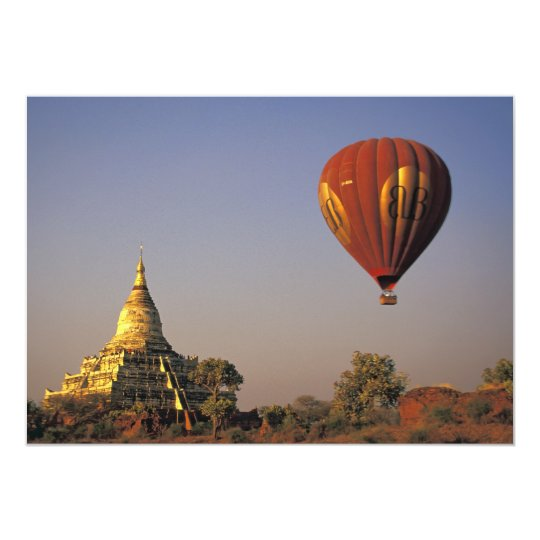 Hot-air Balloon and Shwesandaw Temple, Bagan Card