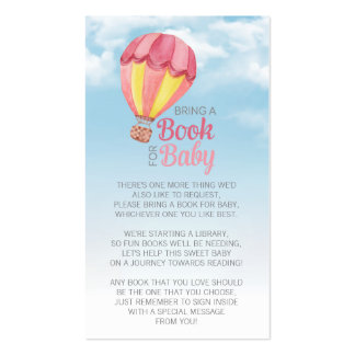 Hot Air Balloon Baby Shower Bring a Book Insert Pack Of Standard Business Cards