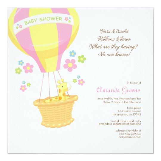 Hot Air Balloon Baby Shower Invitation Card