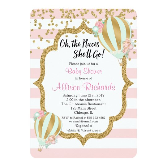 hot air balloon baby shower invitation pink gold