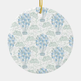 Hot air balloon balloons blue round ceramic decoration
