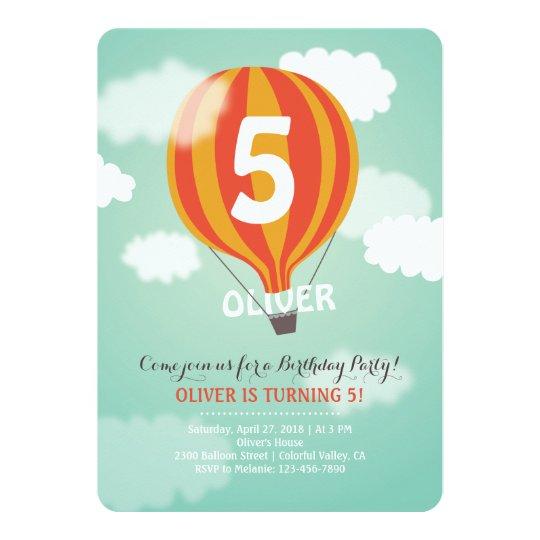 Hot Air Balloon Birthday Custom Kids Party Invite
