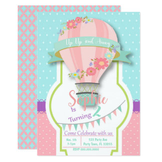 Hot Air Balloon Birthday Inivtiation Card