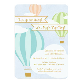 Hot Air Balloon Birthday Party Card
