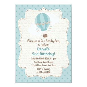 Hot air balloon invitations announcements zazzle hot air balloon birthday party invitation blue filmwisefo