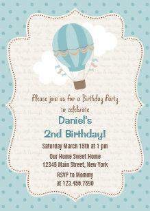 Hot air balloon invitations announcements zazzle uk hot air balloon birthday party invitation blue filmwisefo