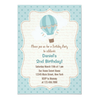 Hot Air Balloon Birthday Party Invitation Blue