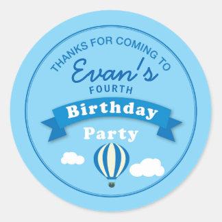 Hot Air Balloon Birthday Party Thank you Sticker