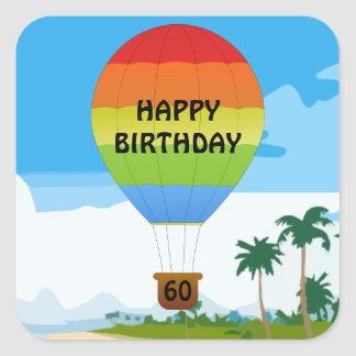 Hot Air Balloon Birthday template sticker