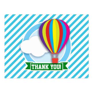 Hot Air Balloon; Blue & White Stripes Post Cards