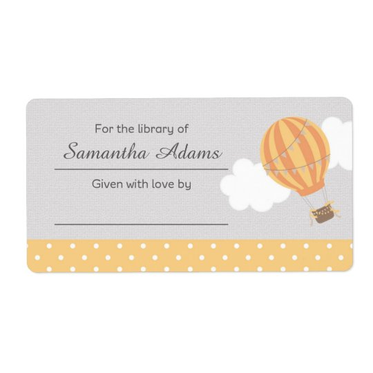 Hot Air Balloon Bookplate Label Sticker
