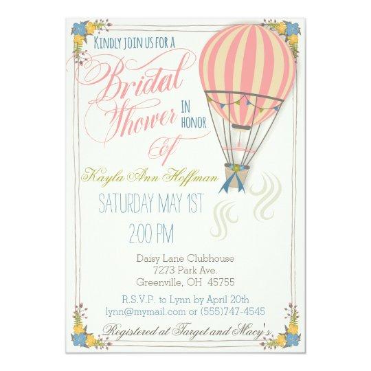 Hot Air Balloon Bridal Shower Invitation. Card
