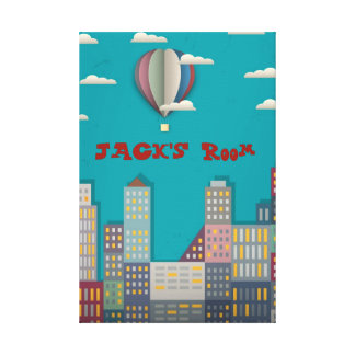 Hot air balloon cityscape gallery wrapped canvas