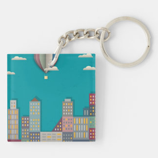 Hot Air Balloon Cityscape Double-Sided Square Acrylic Key Ring