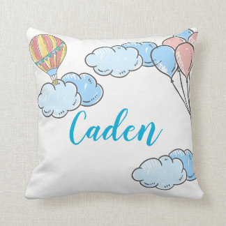 Hot Air Balloon Clouds Personalize Name in the Sky Cushion