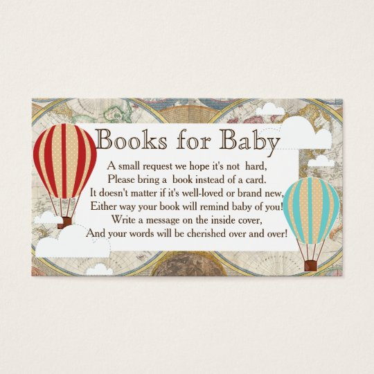 Hot Air Balloon & Clouds World Map Book Request Business Card