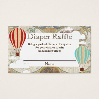 Hot Air Balloon & Clouds World Map Diaper Raffle