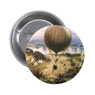 Hot Air Balloon, Dirigible, Vintage Transportation 6 Cm Round Badge