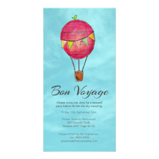 Hot Air Balloon Farewell Bon Voyage Party invite Photo Card Template