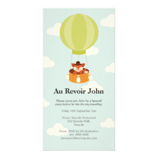 Hot Air Balloon Farewell Bon Voyage Party invite Photo Cards