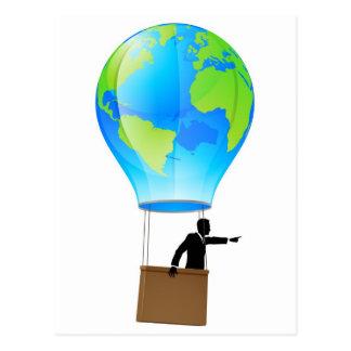 Hot air balloon globe post cards
