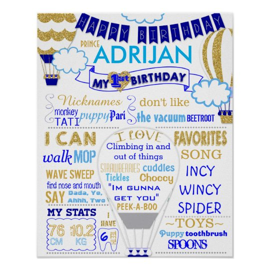 Hot air balloon gold and blue birthday sign